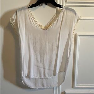 3/$20 White T-Shirt with Crochet Detailing